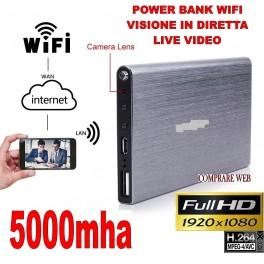 POWER BANK WIFI 3G VIDEOSORVEGLIANZA MICROSPIA TELECAMERA NASCOSTA P2P IP 1920x1080P HD 5000mha