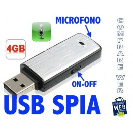 PEN DRIVE RECORDER MINI MICRO REGISTRATORE USB 4GB VOCALE AUDIO SPIA CIMICE SPIA