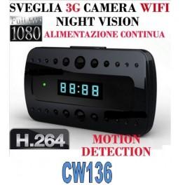 SVEGLIA OROLOGIO SPY SPIA CAM FULL HD 1080P TELECAMERA WIFI 3G CAMERA MOTION DETECTION